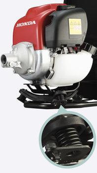 Débroussailleuses à dos Honda, gros plan du moteur, plan du châssis antivibrations.
