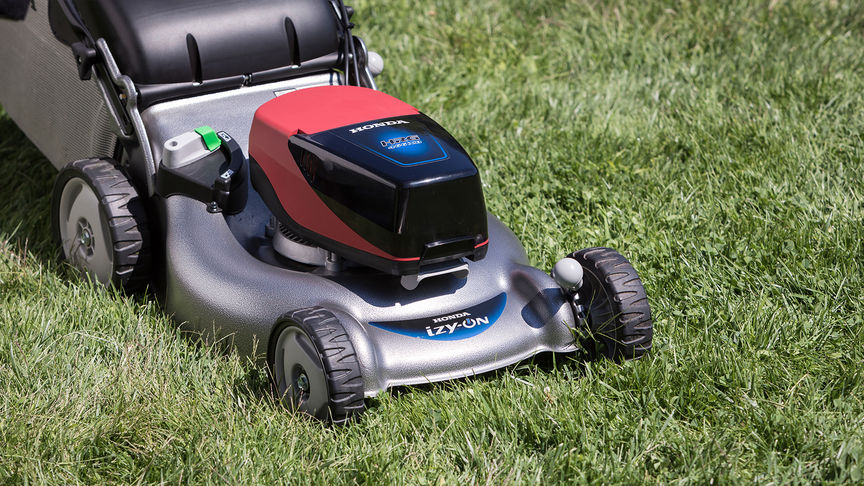 Front three quarter view izy-ON cordless mower.