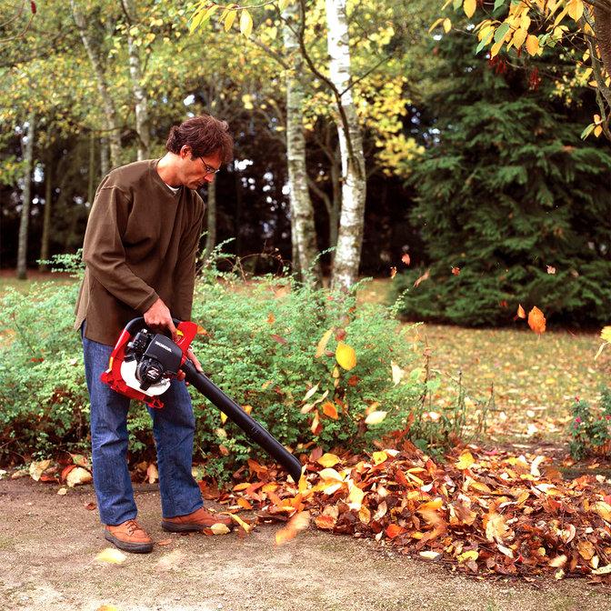 Souffleur de feuilles, utilisé par un démonstrateur, dans un jardin.